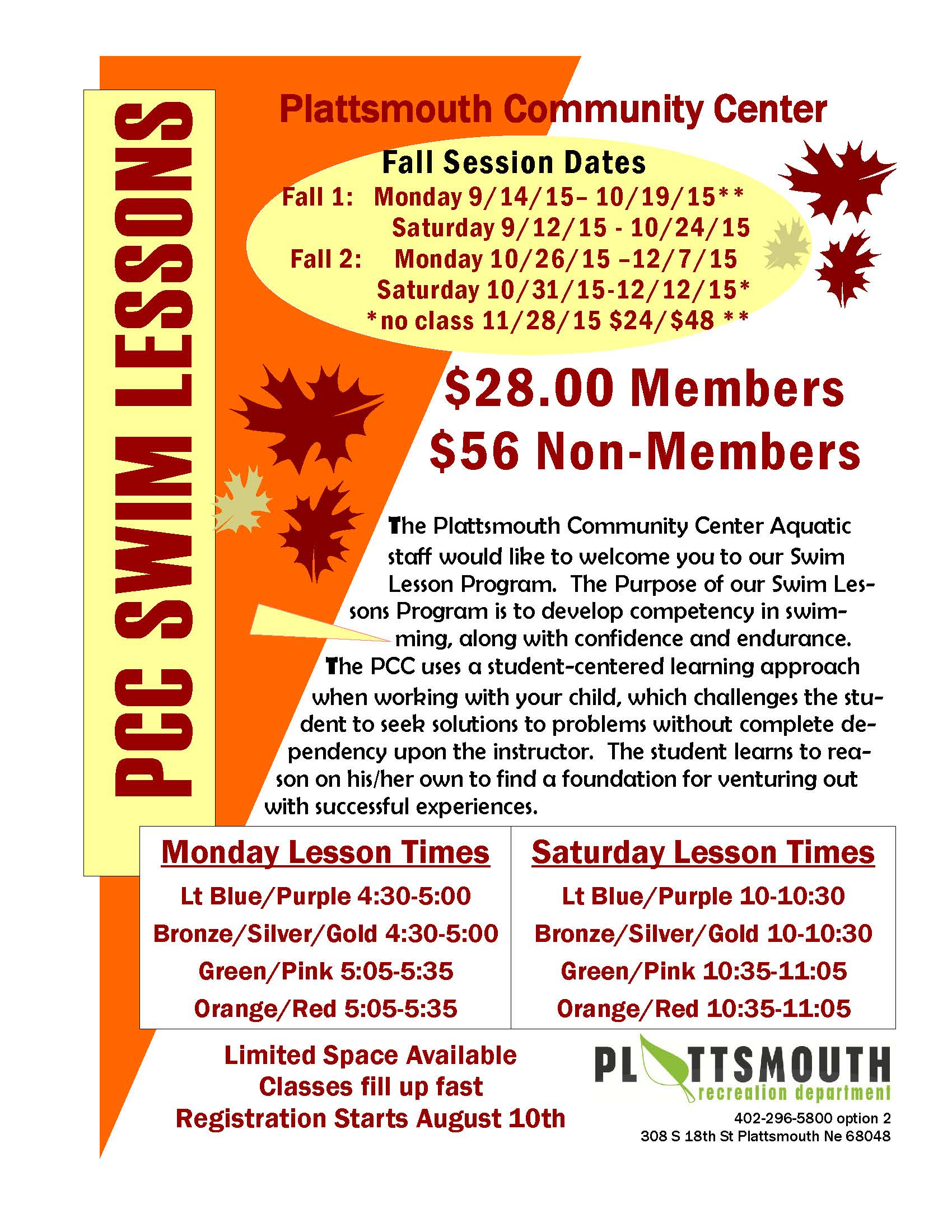 2015 Fall Swim Lessons Flier Page 1
