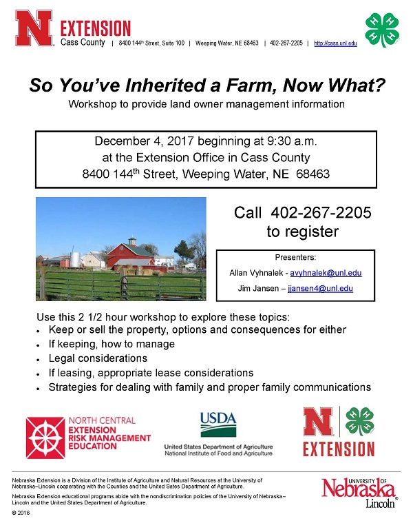 Youve inherited a farm workshop flyer Dec 4 2017
