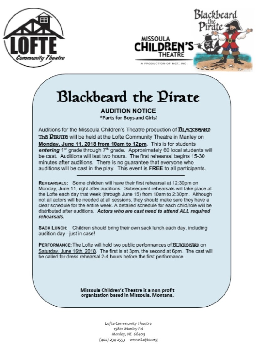 AUDITION NOTICE Blackbeard